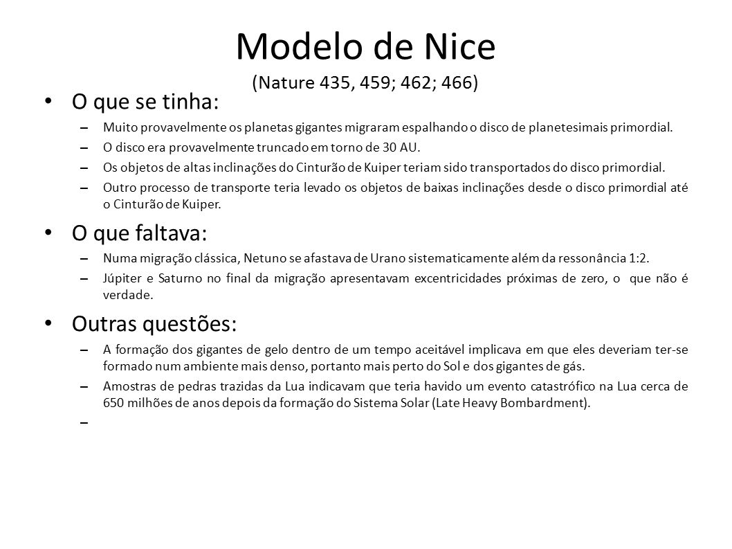 Modelo de Nice (Nature 435, 459; 462; 466)