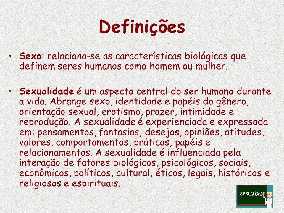 DefiniçõesSexo: relaciona-se as características biológicas que definem seres humanos como homem ou mulher.