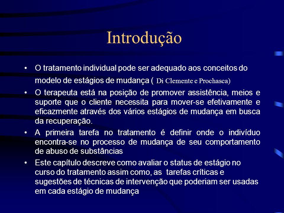Introdução O tratamento individual pode ser adequado aos conceitos do modelo de estágios de mudança ( Di Clemente e Prochasca)