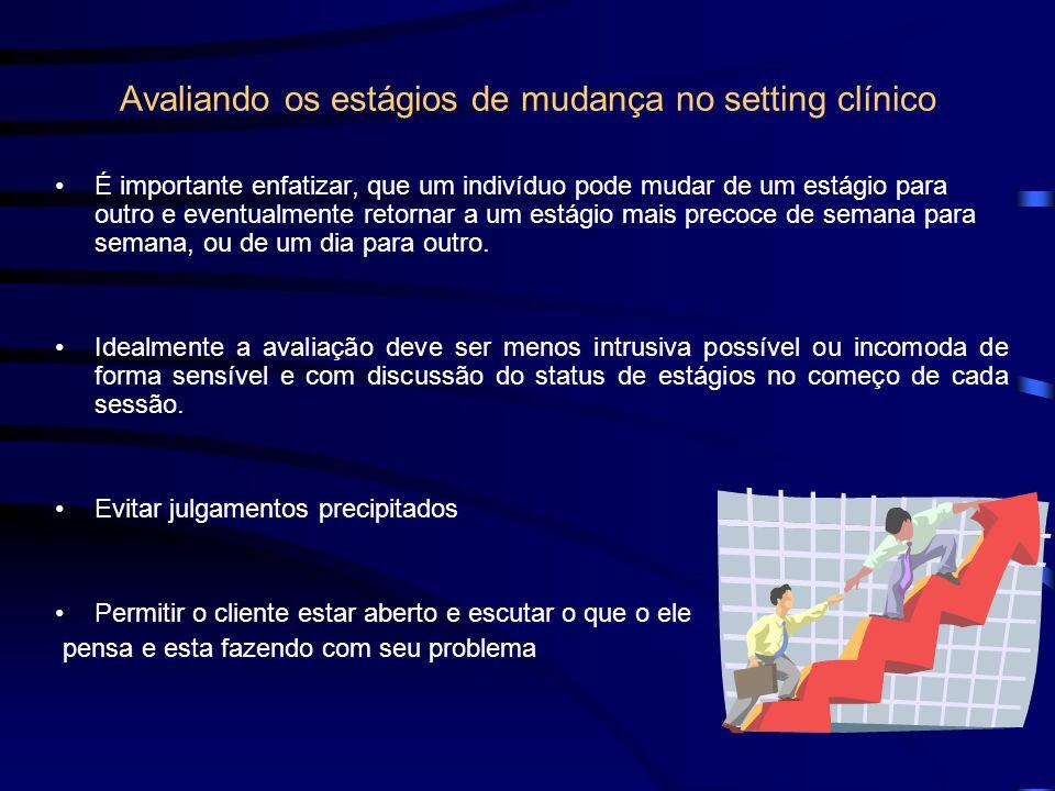 Avaliando os estágios de mudança no setting clínico