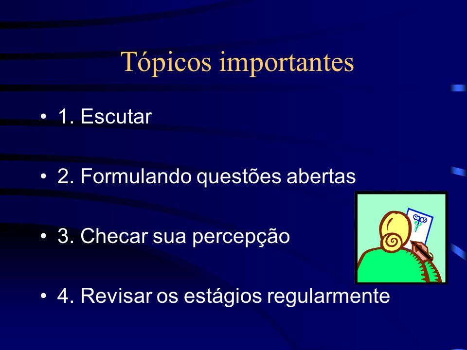 Tópicos importantes 1. Escutar 2. Formulando questões abertas