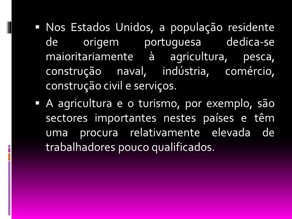 Nos Estados Unidos, a população residente de origem portuguesa dedica-se maioritariamente à agricultura, pesca, construção naval, indústria, comércio, construção civil e serviços.