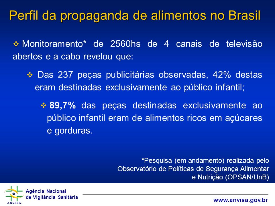Perfil da propaganda de alimentos no Brasil