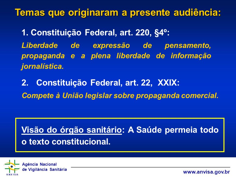 Temas que originaram a presente audiência: