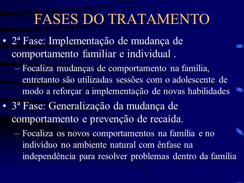 FASES DO TRATAMENTO 2ª Fase: Implementação de mudança de comportamento familiar e individual .
