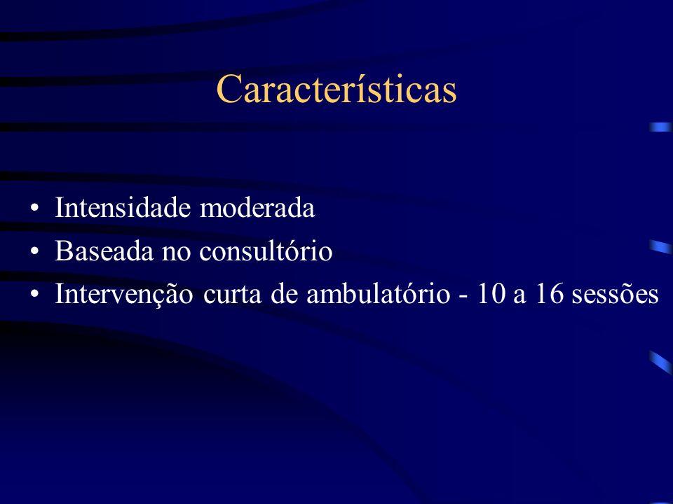 Características Intensidade moderada Baseada no consultório