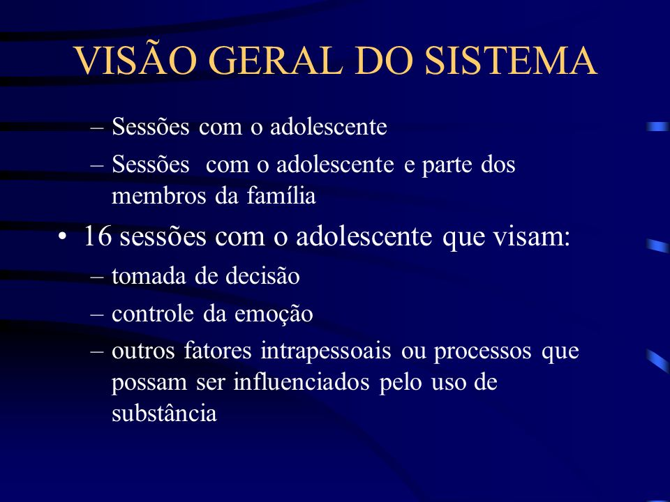 VISÃO GERAL DO SISTEMA 16 sessões com o adolescente que visam: