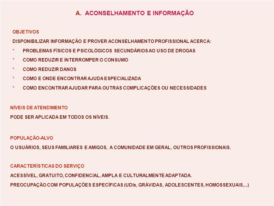 A. ACONSELHAMENTO E INFORMAÇÃO