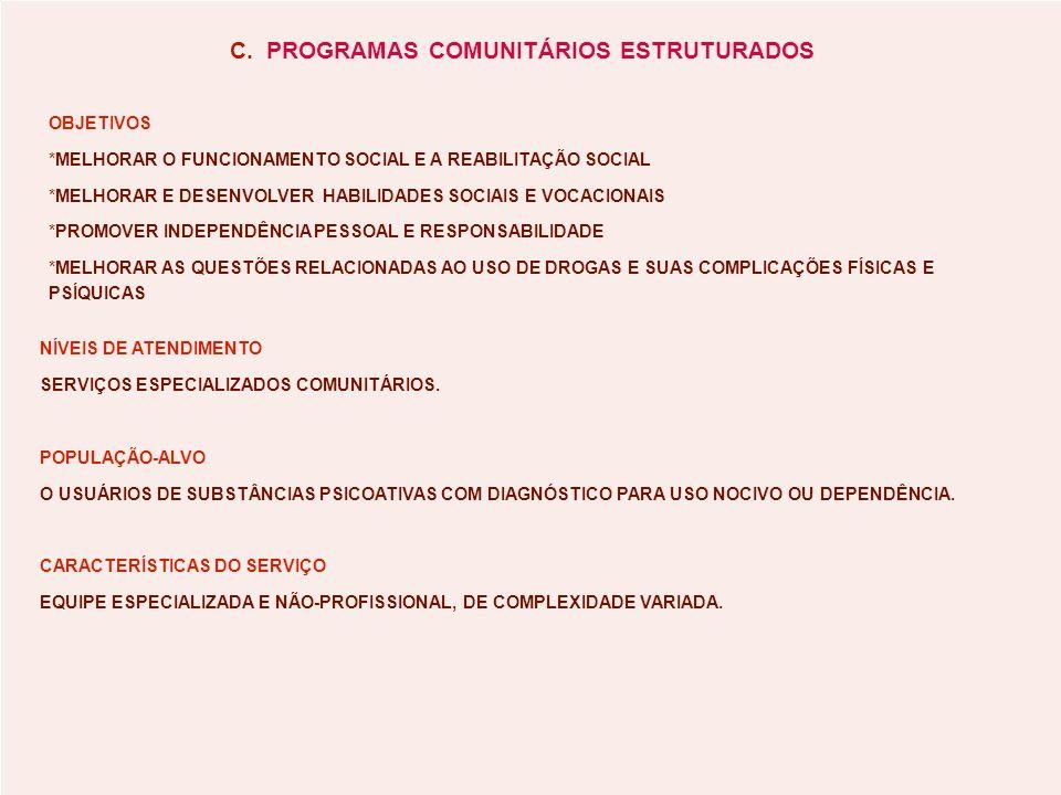 C. PROGRAMAS COMUNITÁRIOS ESTRUTURADOS