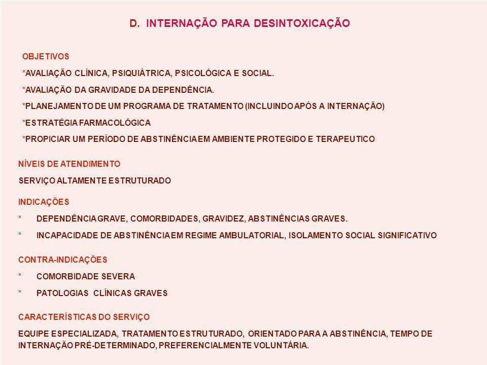 D. INTERNAÇÃO PARA DESINTOXICAÇÃO