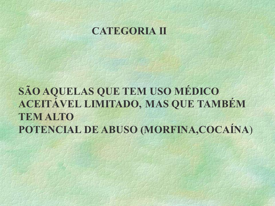CATEGORIA II SÃO AQUELAS QUE TEM USO MÉDICO ACEITÁVEL LIMITADO, MAS QUE TAMBÉM TEM ALTO.