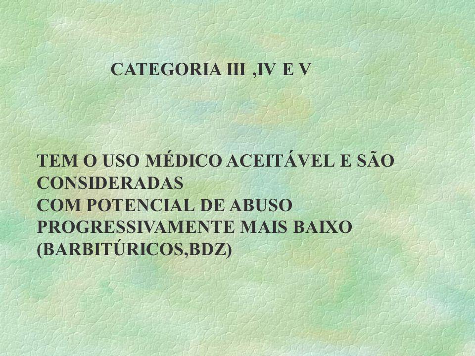 CATEGORIA III ,IV E V TEM O USO MÉDICO ACEITÁVEL E SÃO CONSIDERADAS. COM POTENCIAL DE ABUSO PROGRESSIVAMENTE MAIS BAIXO.