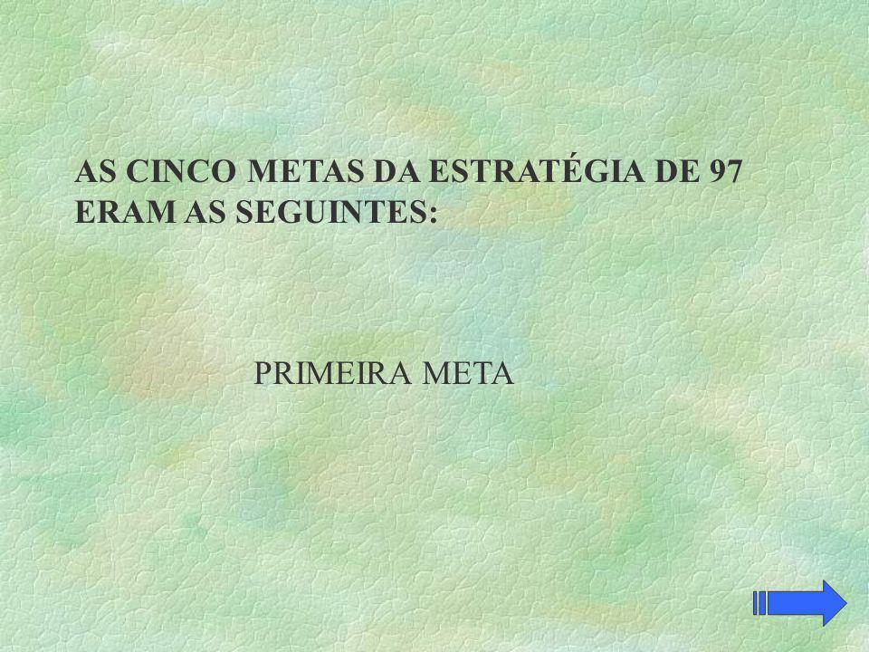 AS CINCO METAS DA ESTRATÉGIA DE 97