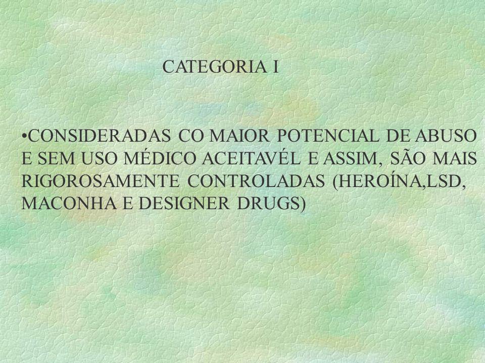CATEGORIA I CONSIDERADAS CO MAIOR POTENCIAL DE ABUSO. E SEM USO MÉDICO ACEITAVÉL E ASSIM, SÃO MAIS.