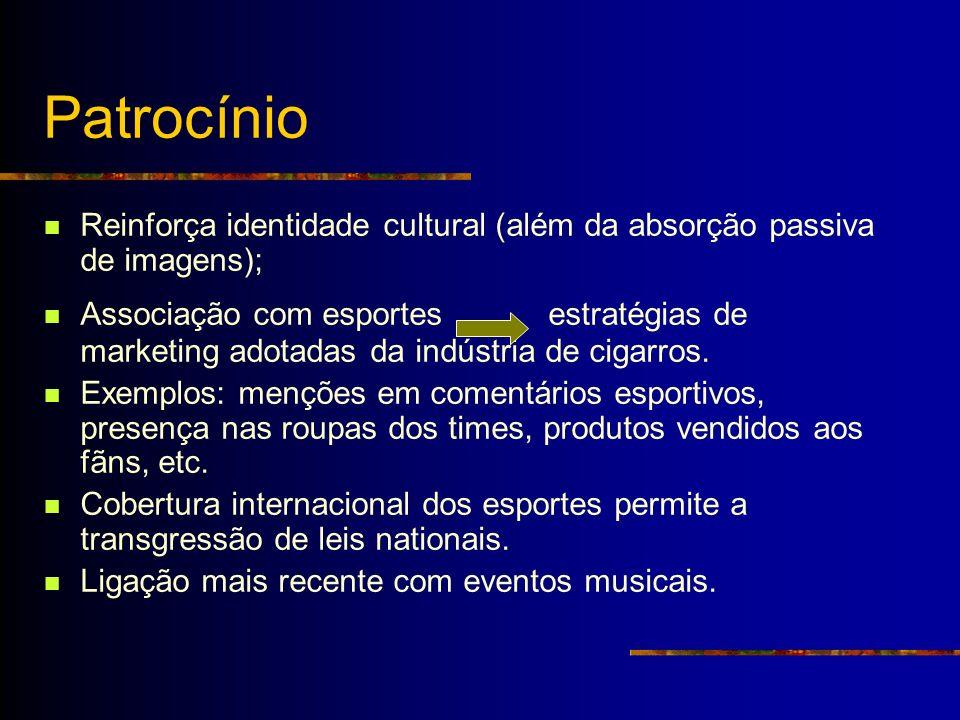 Patrocínio Reinforça identidade cultural (além da absorção passiva de imagens);