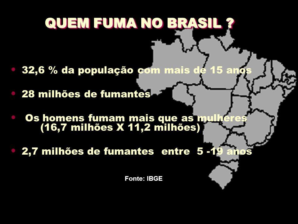 QUEM FUMA NO BRASIL 32,6 % da população com mais de 15 anos