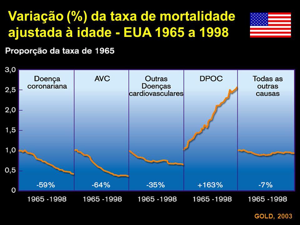 Variação (%) da taxa de mortalidade ajustada à idade - EUA 1965 a 1998