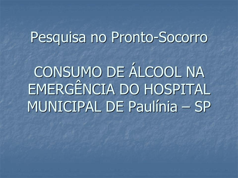 Pesquisa no Pronto-Socorro CONSUMO DE ÁLCOOL NA EMERGÊNCIA DO HOSPITAL MUNICIPAL DE Paulínia – SP