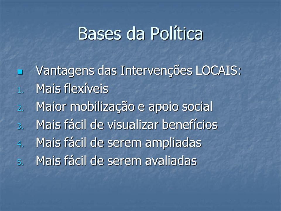 Bases da Política Vantagens das Intervenções LOCAIS: Mais flexíveis