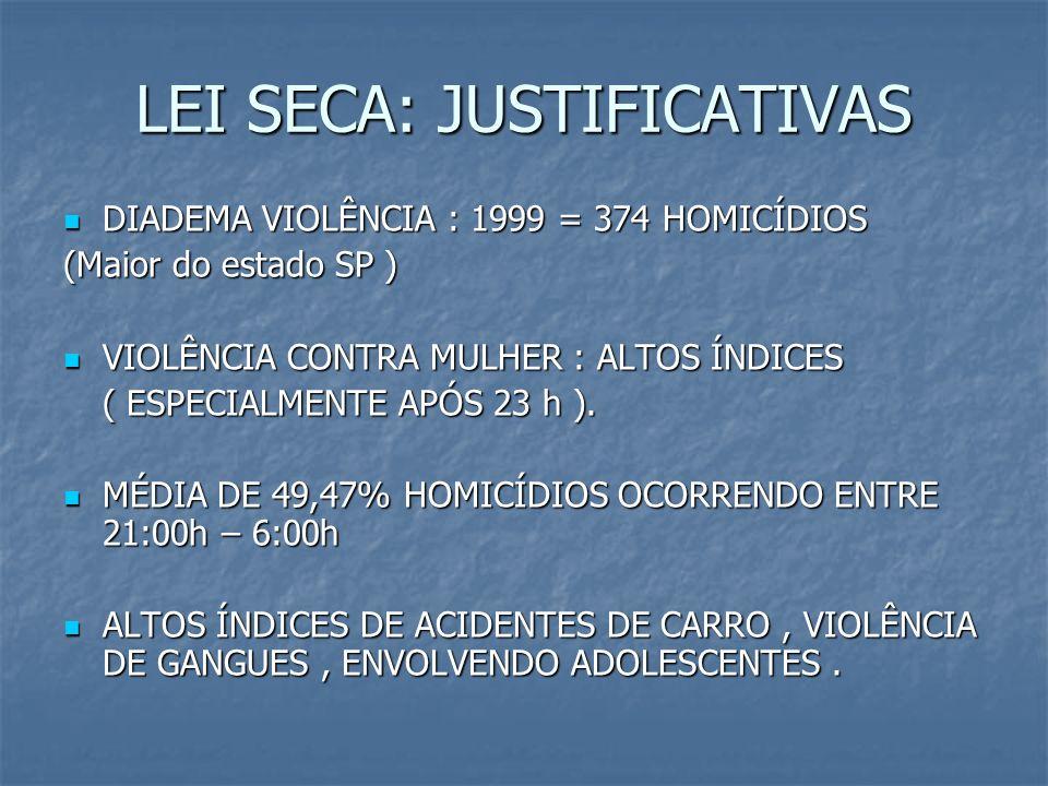 LEI SECA: JUSTIFICATIVAS