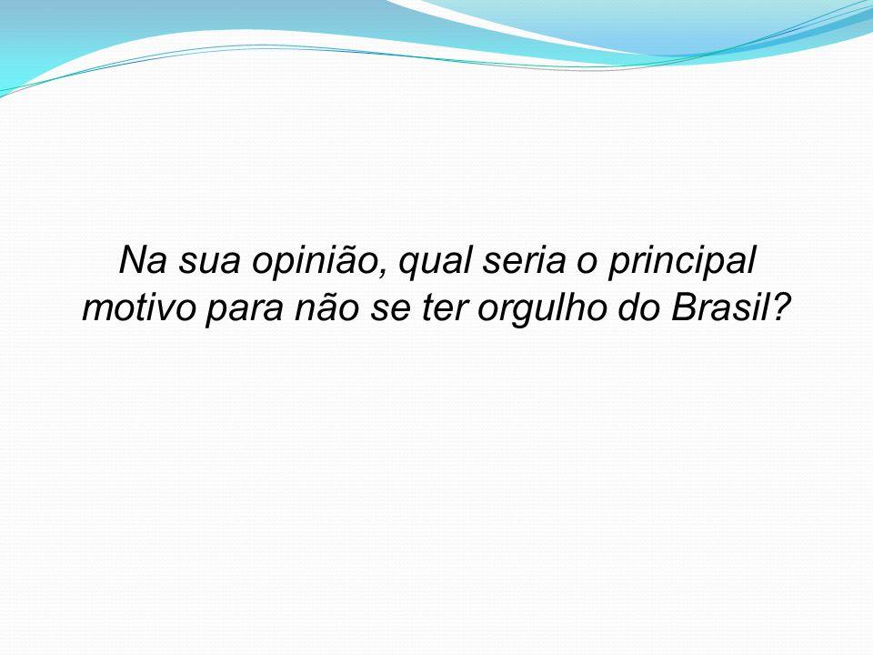 Na sua opinião, qual seria o principal motivo para não se ter orgulho do Brasil