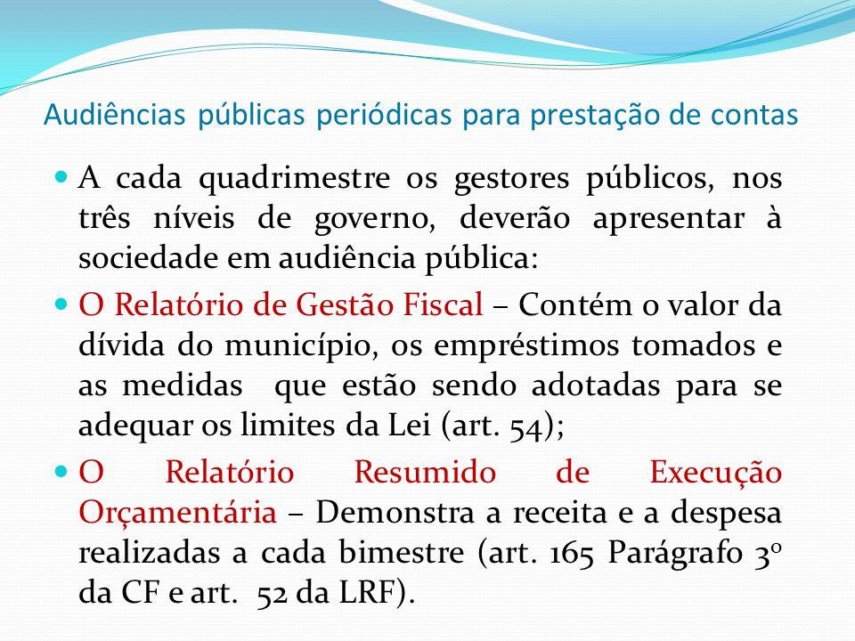 Audiências públicas periódicas para prestação de contas