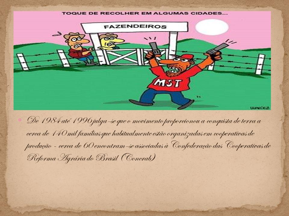 De 1984 até 1996 julga-se que o movimento proporcionou a conquista de terra a cerca de 140 mil famílias que habitualmente estão organizadas em cooperativas de produção - cerca de 60 encontram-se associadas à Confederação das Cooperativas de Reforma Agrária do Brasil (Concrab)