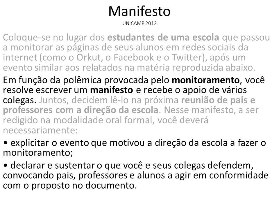 Manifesto UNICAMP 2012.