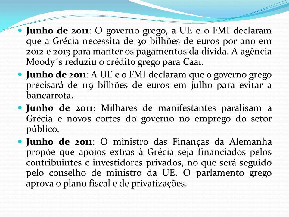Junho de 2011: O governo grego, a UE e o FMI declaram que a Grécia necessita de 30 bilhões de euros por ano em 2012 e 2013 para manter os pagamentos da dívida. A agência Moody´s reduziu o crédito grego para Caa1.
