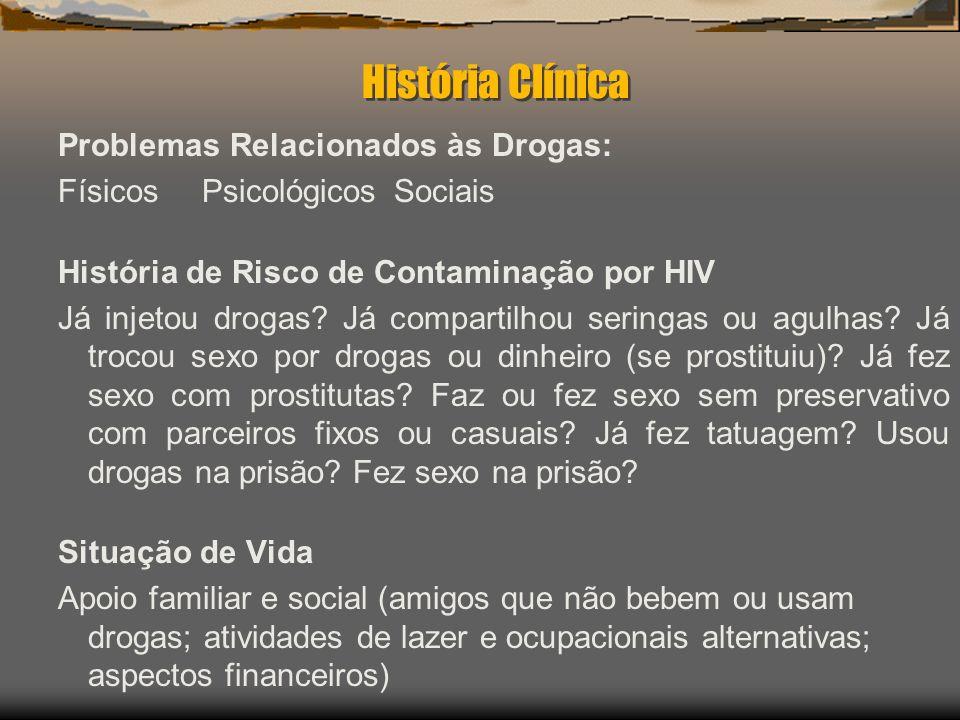 História Clínica Problemas Relacionados às Drogas: