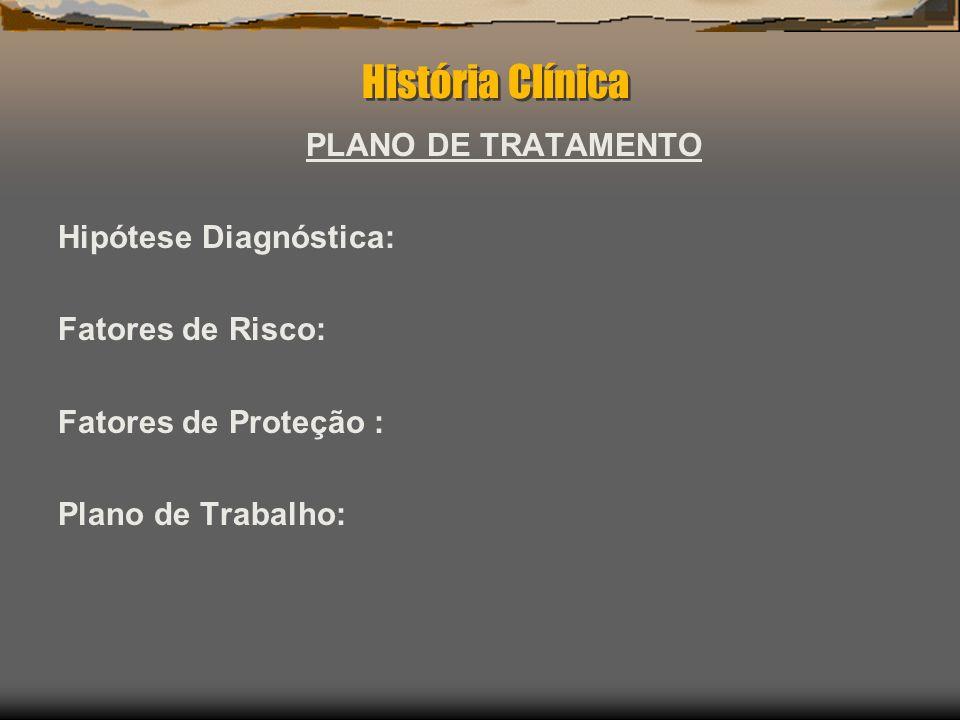 História Clínica PLANO DE TRATAMENTO Hipótese Diagnóstica: