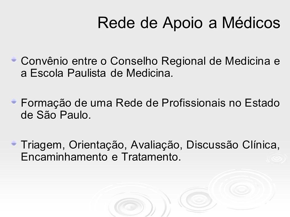 Rede de Apoio a MédicosConvênio entre o Conselho Regional de Medicina e a Escola Paulista de Medicina.