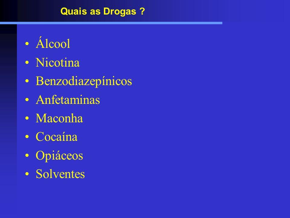 Álcool Nicotina Benzodiazepínicos Anfetaminas Maconha Cocaína Opiáceos
