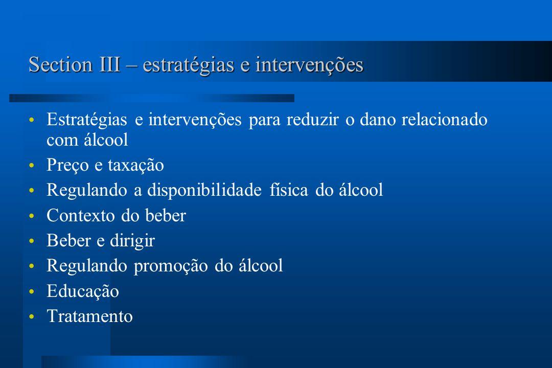 Section III – estratégias e intervenções