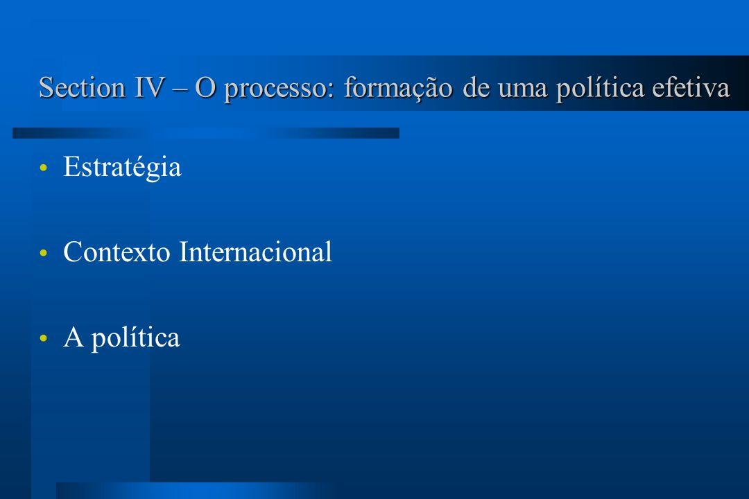 Section IV – O processo: formação de uma política efetiva