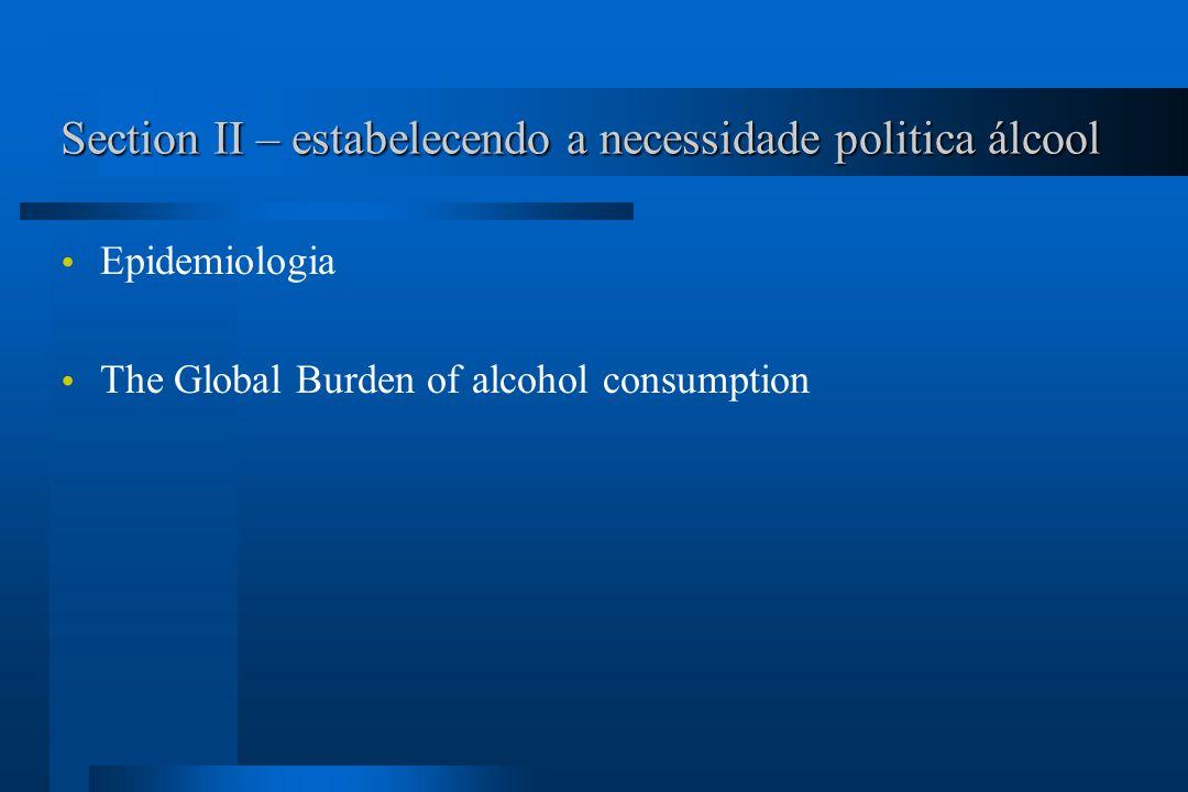 Section II – estabelecendo a necessidade politica álcool