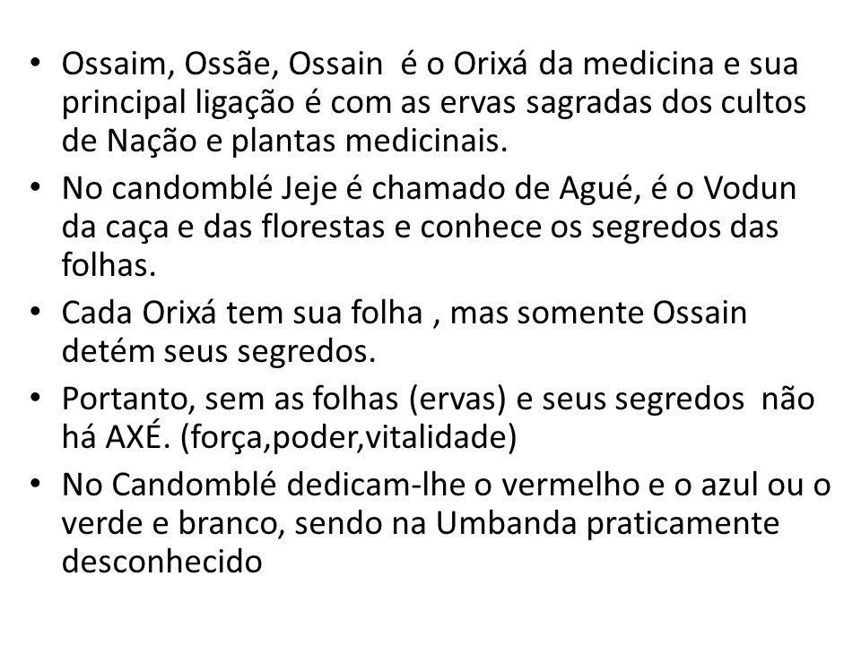 Ossaim, Ossãe, Ossain é o Orixá da medicina e sua principal ligação é com as ervas sagradas dos cultos de Nação e plantas medicinais.