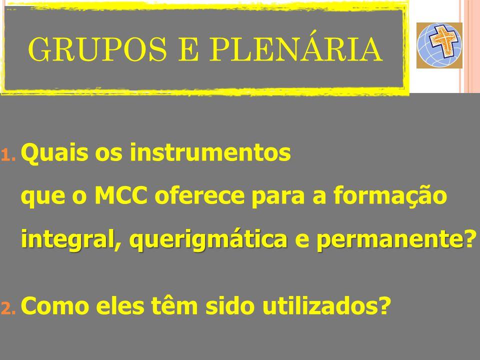 GRUPOS E PLENÁRIA Quais os instrumentos que o MCC oferece para a formação integral, querigmática e permanente