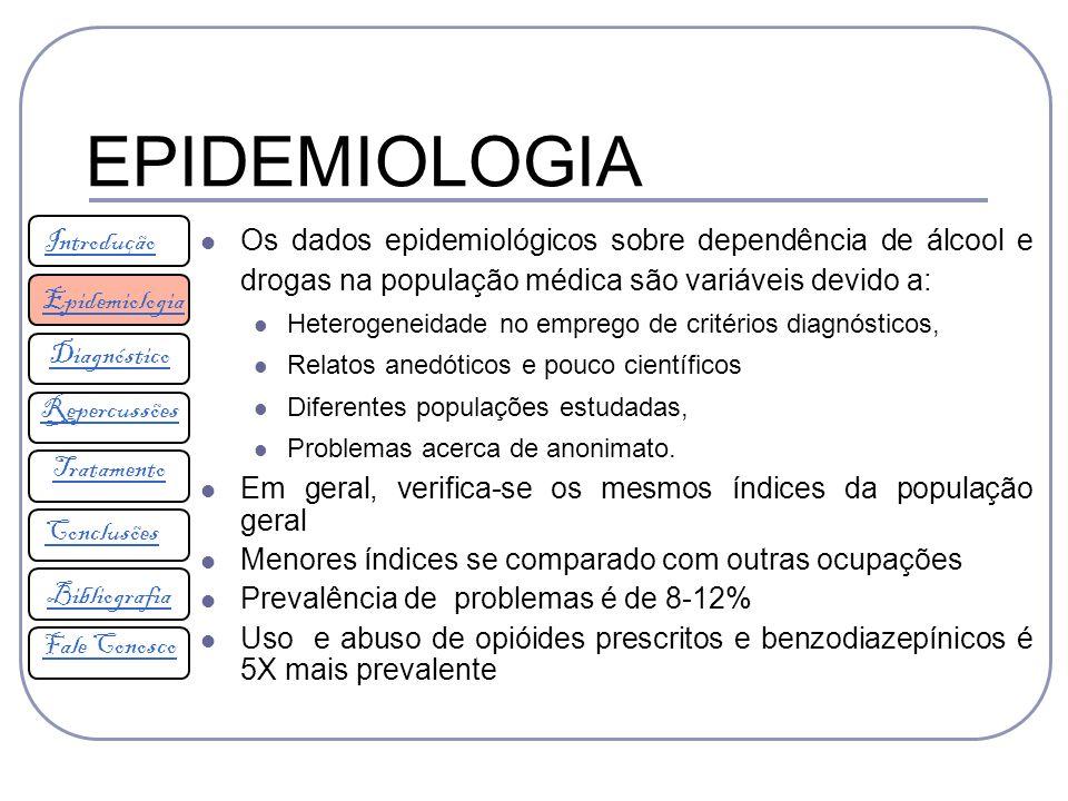 EPIDEMIOLOGIA Introdução. Os dados epidemiológicos sobre dependência de álcool e drogas na população médica são variáveis devido a: