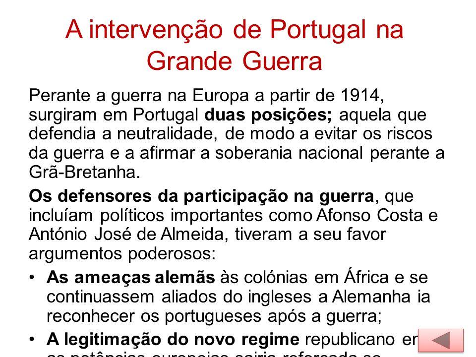 A intervenção de Portugal na Grande Guerra