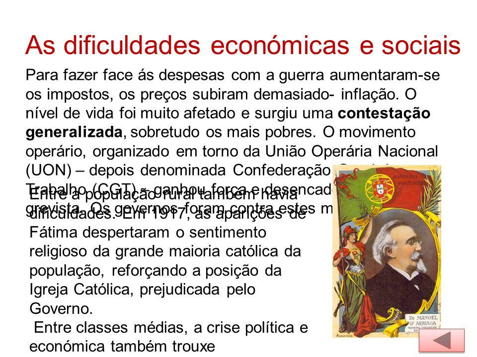 As dificuldades económicas e sociais
