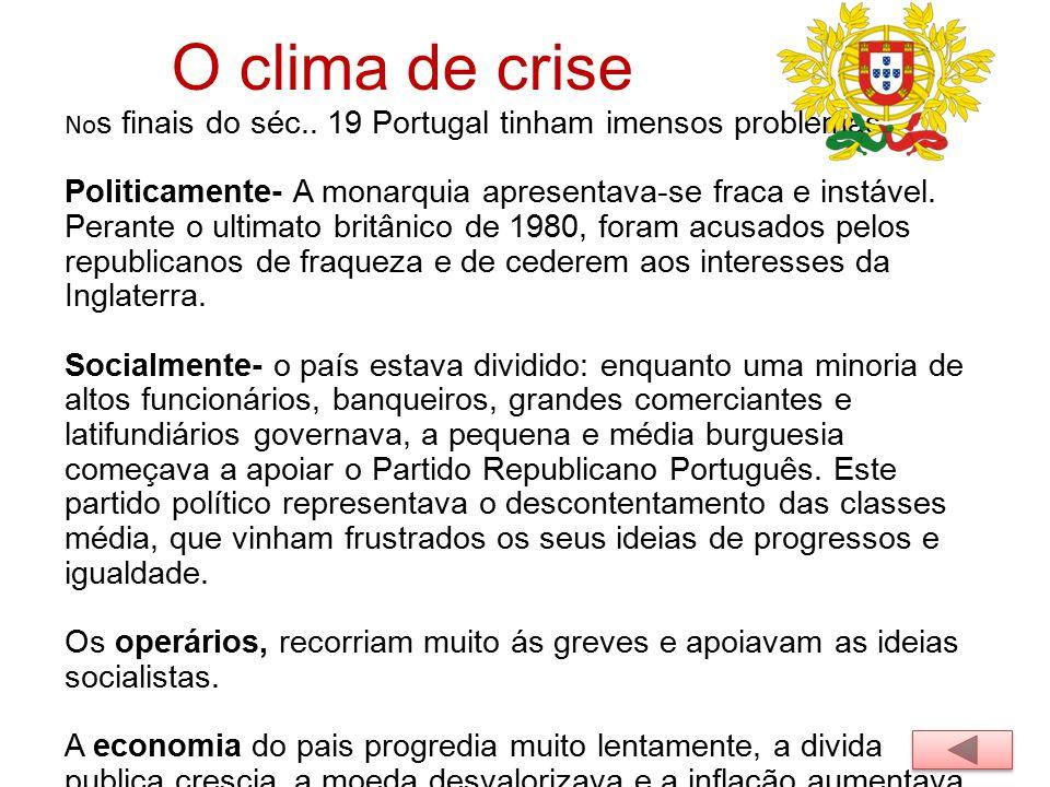 O clima de crise Nos finais do séc.. 19 Portugal tinham imensos problemas.