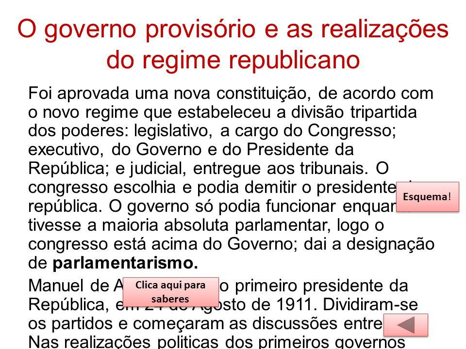 O governo provisório e as realizações do regime republicano