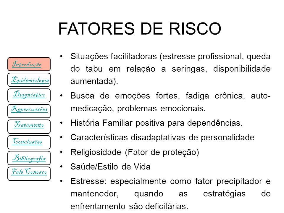 FATORES DE RISCO Situações facilitadoras (estresse profissional, queda do tabu em relação a seringas, disponibilidade aumentada).