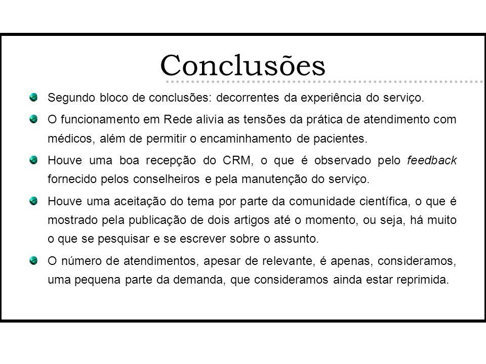 Conclusões Segundo bloco de conclusões: decorrentes da experiência do serviço.