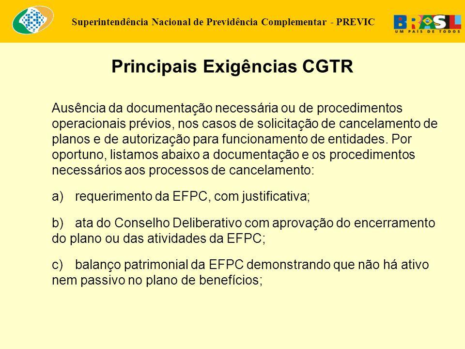 Principais Exigências CGTR