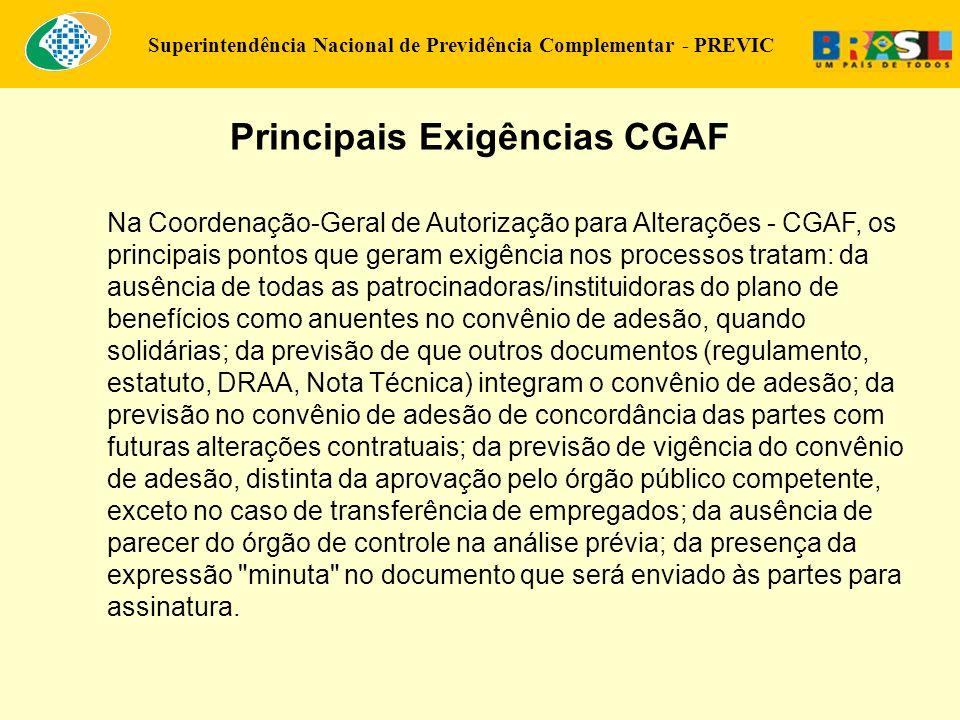 Principais Exigências CGAF