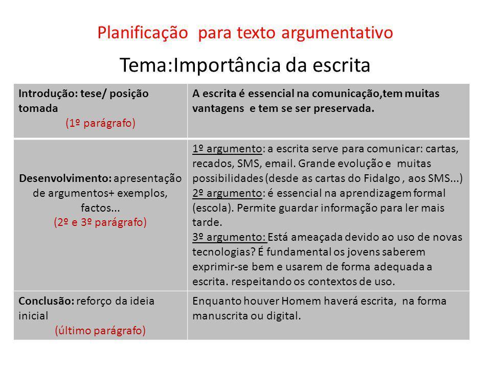 Planificação para texto argumentativo