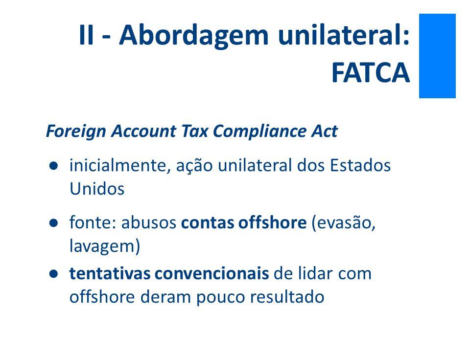 II - Abordagem unilateral: FATCA