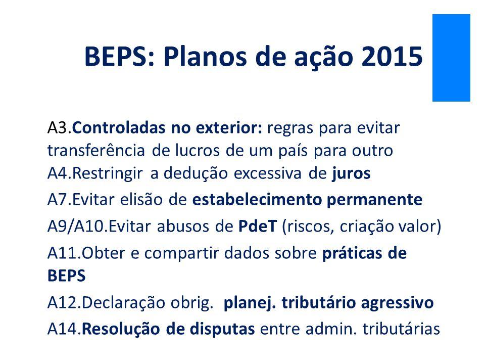BEPS: Planos de ação 2015 A3.Controladas no exterior: regras para evitar transferência de lucros de um país para outro.